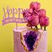 Happy Birthday 1.5 Kg Red Velvet Floral Cake